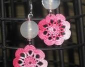 Dainty Pink Flower Crocheted Earrings