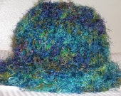 SALE 1\/2 PRICE was 19.50---Soft, Fuzzy and Thick Knitted Hat in Shades of Teal, Blue, Green and Purple