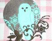 SALE 20 PERCENT OFF was 8.00--Embroidered Hand Towel--Retro Owl Filigree