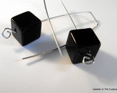 Black Earrings, Black Cube Earrings, Modern Earrings, Earrings Black, Modern Black Earrings