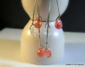Pink Earrings, Crystal Quartz and Sterling Silver Dangles, Earrings Pink, Bridal Jewlery