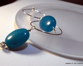 Blue Earrings, Sterling Silver Hoops, Blue and Silver Hoops Gift under 25