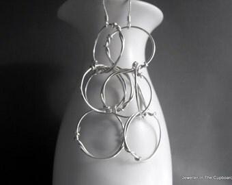Sterling Silver Earrings - Silver Circle Dangle Earring, Earrings Silver