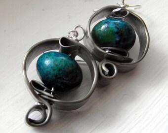 Grey and Green Earrings, Blue Green Earrings, Pewter Earrings, Funky Earrings, Modern Grey Earrings