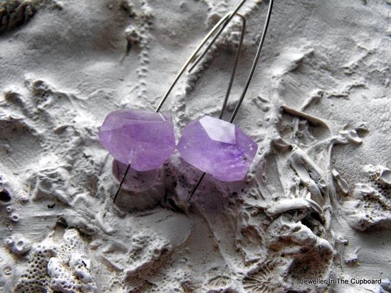 Amethyst Earrings, Modern Earrings, Purple Earrings, Amethyst Nuggets,  Earrings Amethyst, Under 35 Dollars