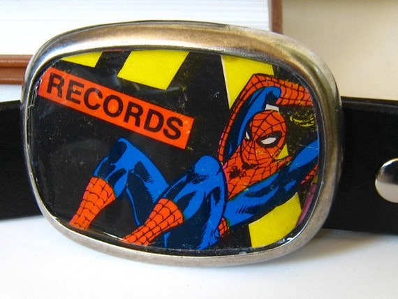 Spiderman Belt Buckle from 1960 storybook record album cover