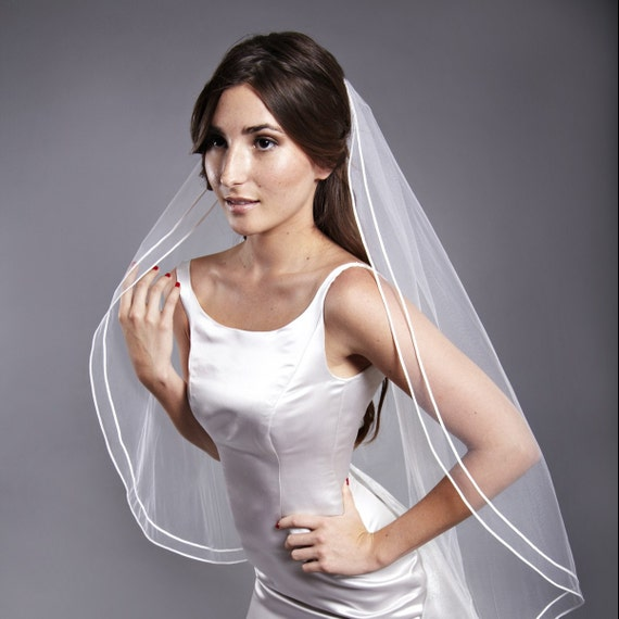 42 Inch Double Lily Pad Wedding Veil with a Blusher