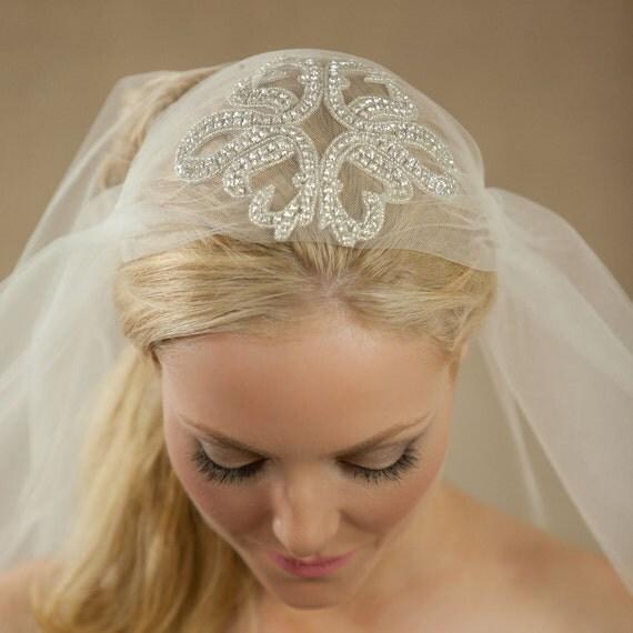 "SALE Rhinestone Cap Veil, Bridal Cap with a Mid Length Sheer Wedding Veil, Bridal Illusion Tulle 25"" Starfish Sparkling Bridal Cap Veil"