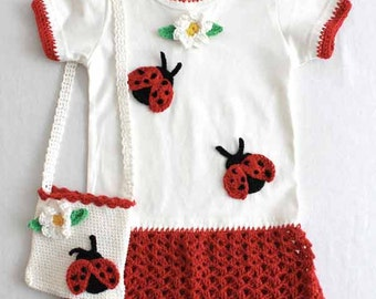 Ladybug T-shirt Dress and Purse Pattern PDF
