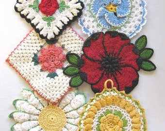 Vintage Floral Potholders Crochet Pattern PDF
