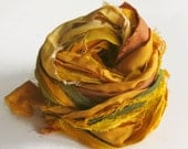 Sari Silk Ribbons, yellow, gold color pack, 'Gilded', 10 yards, reclaimed