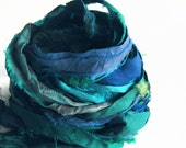 Recycled Sari Silk Ribbons, aqua, blue color pack, 'Ocean', 10 yards, reclaimed, Fair Trade