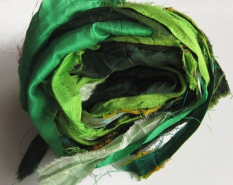 Recycled Sari Silk Ribbons, green color pack, 'Rainforest', 10 yards, reclaimed, Fair Trade