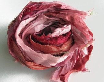 Sari Silk Ribbons, pink color pack, 'Rose Garden', 10 yards, reclaimed