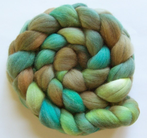 Organic merino, hand dyed, 'Aquatic', 4 oz.