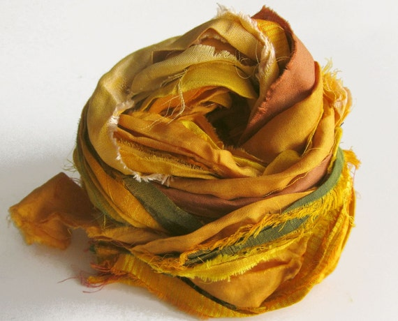 Sari Silk Ribbons, yellow, gold color pack, 'Gilded', 10 yards, reclaimed