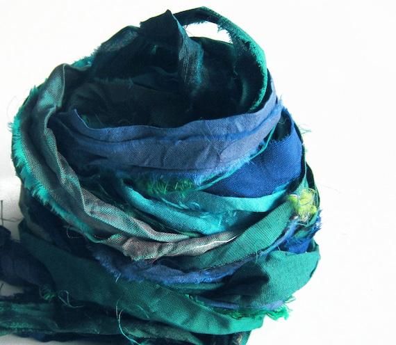 Recycled Sari Silk Ribbons, aqua, blue color pack, 'Ocean', 10 yards, reclaimed, Fair Trade