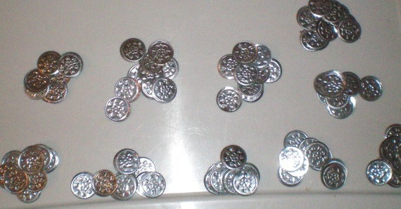 Stamped Metal Faux Coins, 100 plus, for sewing, crochet, knitting.  Belly Dance, Steampunk, Boho