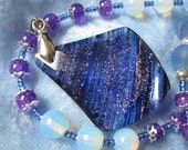 Gemstone Pendant Necklace Blue Purple Sand Quartz Opalite Beaded Glass