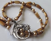 Dragon Necklace, Golden Mother of Pearl, Gold Glass Pearls