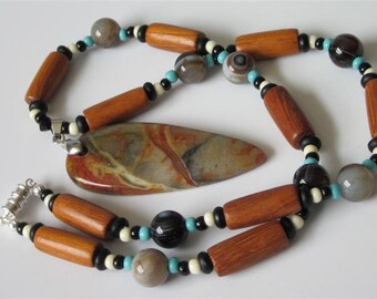 Jasper Beaded Pendant Necklace, Stone Multi Color Picasso Jasper Pendant, Southwestern, Tribal