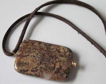 Ocean Jasper Necklace, Jasper  Pendant, Rectangle, Deer Suede Leather, Brown Stone, Unisex Jewelry, Men, Gemstone