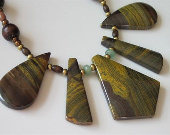 Tiger Iron Necklace, Stone Necklace, Cleopatra Bib, Fan, Aventurine, Unakite Jasper, Handmade Jewelry, OAK Necklace, Statement Necklace