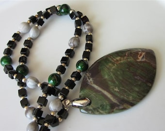 Jasper Pendant Necklace, Rainforest Jasper Gemstone, Beaded, Mens Necklace, Natural Stone