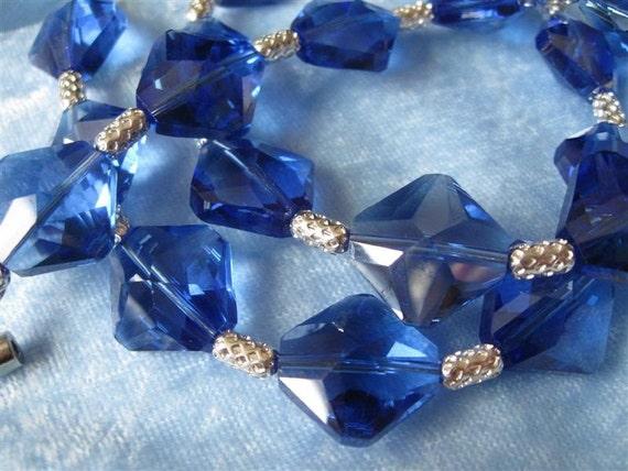 Cobalt Blue Crystal Necklace Rhombic Crystals