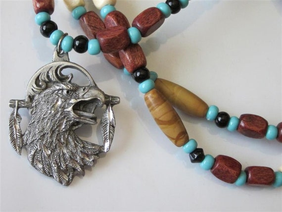 Southwest Tribal Gemstone Eagle Pendant Necklace Screaming Mens