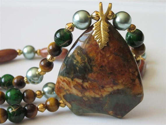 Gemstone Pendant Necklace African Green Opal