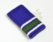 iPhone 6 or 6s Hand Knit Wool Cozy Sock - Vancouver Canucks Hockey Sock Design