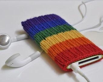 LGBT Rainbow Pride Flag iPod Nano 4/5G Cozy Sock Case Hand Knit in Wool - Proud