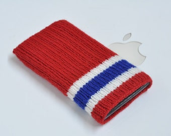iPod Nano 7G Case Cover Hand Knit Wool - Montreal Canadiens Hockey Sock Design