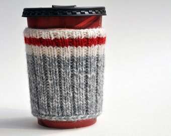 Hand Knit Hiking Camping Coffee Cup Cozy Mug Sleeve - Take a Hike
