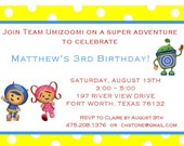 Team Umizoomi Party Invitations, Cupcake Toppers, Thank You Notes, Stickers, Labels and More
