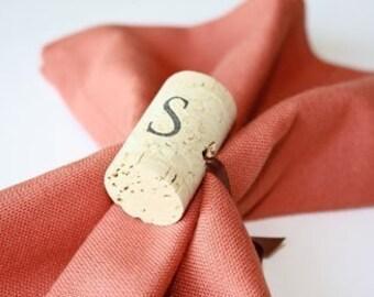 Single Initial  Wine Cork Napkin Rings