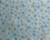 BABY on Blue -- Cotton Flannel -- ONE Yard