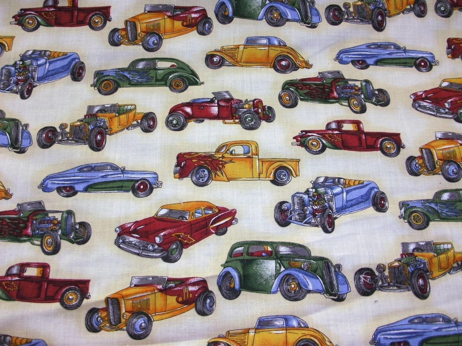 cotton print fabric vintage car by the yard. Black Bedroom Furniture Sets. Home Design Ideas