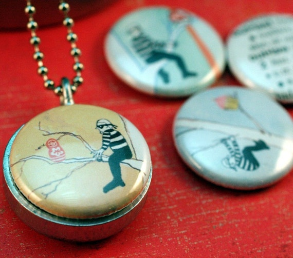 Russian Nesting Doll, Cool Locket Necklace, Polarity Locket, Metal Locket Set, Recycled Jewelry, Quirky, Picture Locket, Upcycled Jewelry