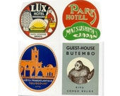 EXOTIC DESTINATIONS - 20 Retro Luggage Labels Stickers - Vintage Hotels Travel