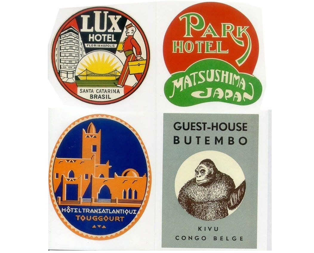 EXOTIC DESTINATIONS 20 Retro Luggage Labels by cafeamericaine