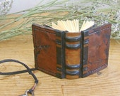 Little Book, Miniature Leather Journal with Antique Key