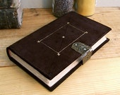 Thoughts. Brown Suede Journal / Blank Book with Metal Clasp