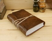 Handmade Leather Journal or Notebook, Brown Red Vintage Leather