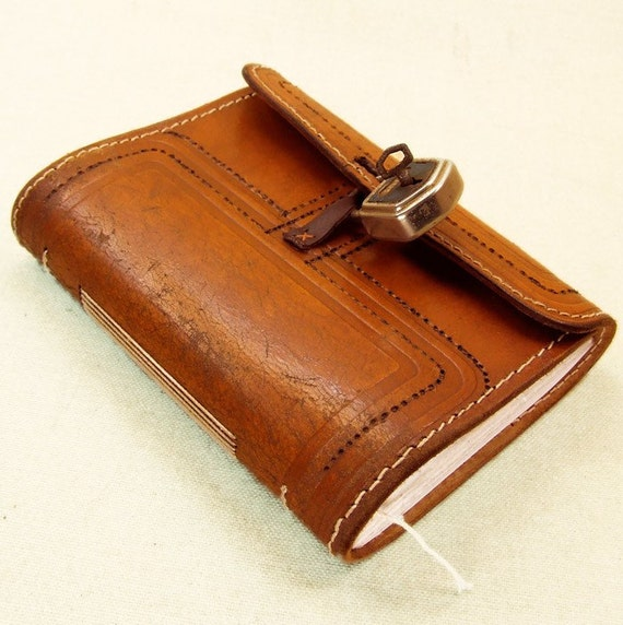 Old Leather Journal With Key Mahogany Vintage Leath...