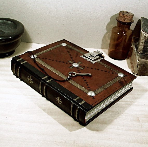Old Leather Journal With Key Symbols Brown Leather ...