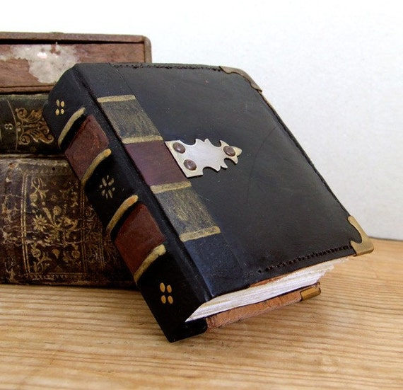 Vintage Leather Journal with Fittings, The Square Black Book