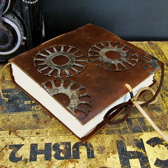 "Steampunk Brown Leather Journal - ""Working on a Dream"""