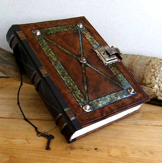Old Leather Journal With Key Dream Big. Vintage Lea...